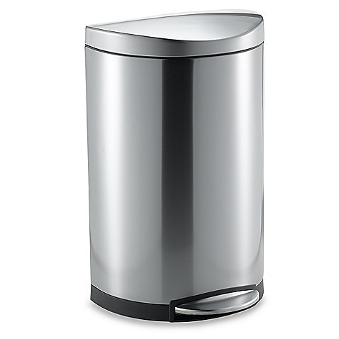 simplehuman semi round brushed stainless steel step trash can bed bath beyond video. Black Bedroom Furniture Sets. Home Design Ideas
