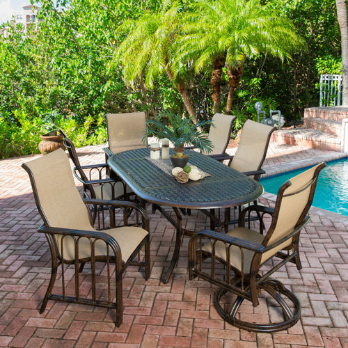 Aruba 7 piece sling patio dining set welcome to costco for Ensemble patio costco