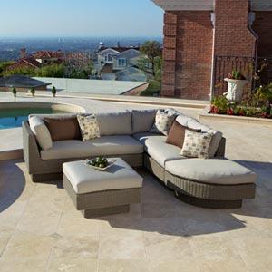 Portofino Signature Moda 4 Piece Modular Sectional In Weathered Gray Patio Furniture Welcome