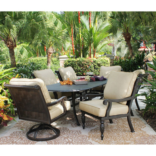 Villa 7 piece cushioned patio dining set welcome to for Ensemble patio costco