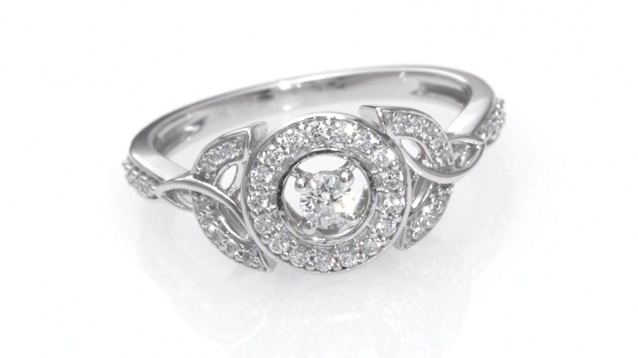 Diamond Frame Celtic Trinity Knot Ring In 10k White Gold Women S